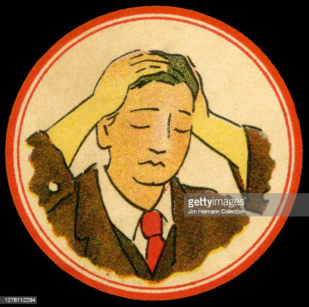 A luggage label shows an illustration of a man holding his head with a look of distress on his face ca 1934