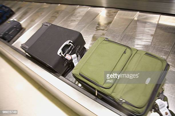 Luggage on baggage carousel