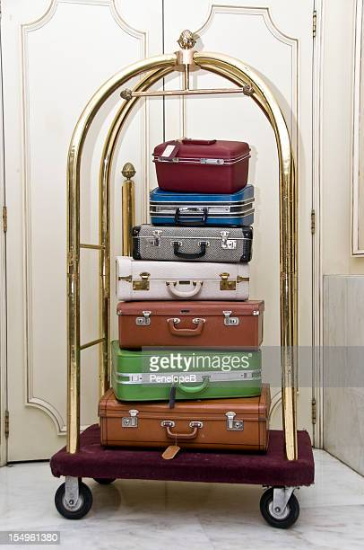 Luggage stack on a rack