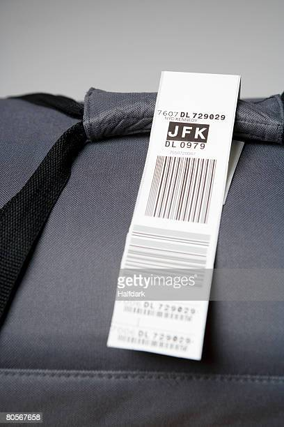 A luggage tag on a bag