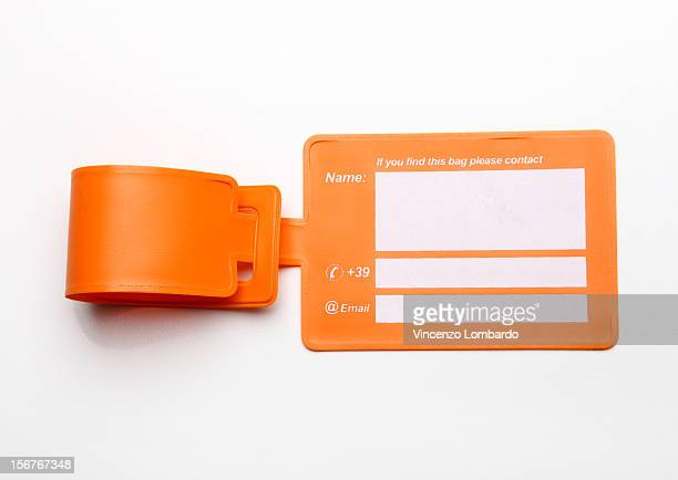 Luggage tag on a white background