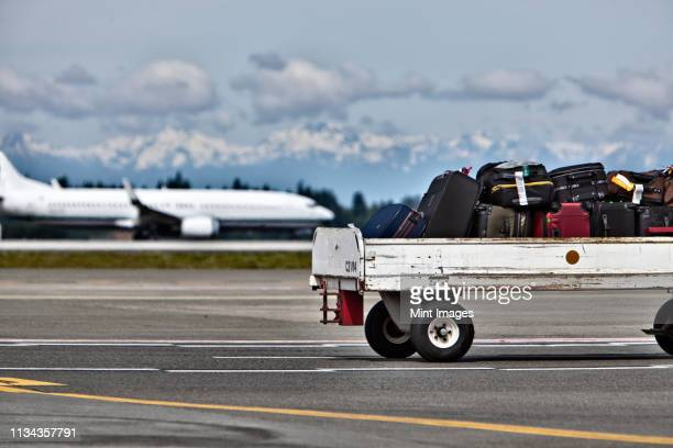luggage trailer on the airport tarmac - cart stock pictures, royalty-free photos & images