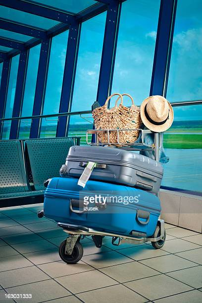 Luggage trolley with suitcases