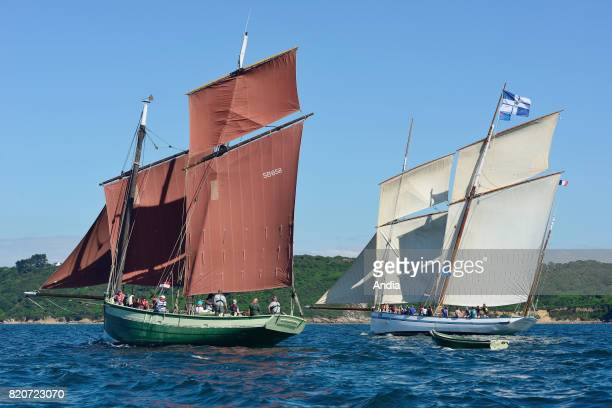 Lugger Le Grand Lejon and fishing boat La Granvillaise taking part in the 7th edition of the Brest International Maritime Festival a festival hosting...