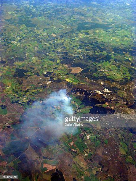 Lugo. Galicia. Aerial view of a fire in the mountains of Lugo.