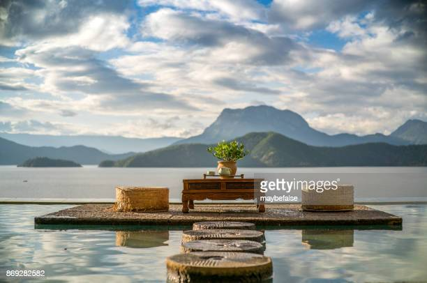 lugu lake scenery - yunnan province stock pictures, royalty-free photos & images