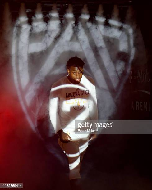 Luguentz Dort of the Arizona State Sun Devils is introduced before a quarterfinal game of the Pac12 basketball tournament against the UCLA Bruins at...