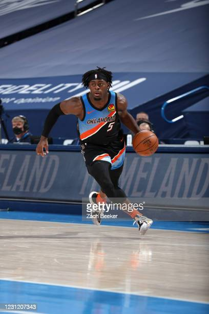 Luguentz Dort of the Oklahoma City Thunder dribbles during the game against the Portland Trail Blazers on February 16, 2021 at Chesapeake Energy...
