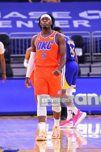 Luguentz Dort of the Oklahoma City Thunder looks on during the game against the Golden State Warriors on April 8, 2021 at Chase Center in San...