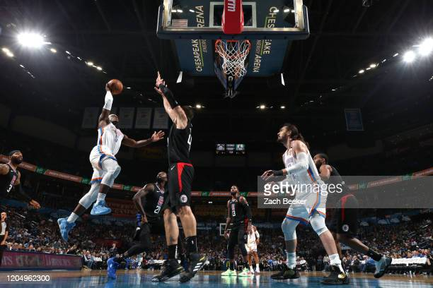Luguentz Dort of the Oklahoma City Thunder shoots the ball against the LA Clippers on March 3, 2020 at Chesapeake Energy Arena in Oklahoma City,...