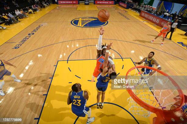 Luguentz Dort of the Oklahoma City Thunder shoots the ball against the Golden State Warriors on April 8, 2021 at Chase Center in San Francisco,...