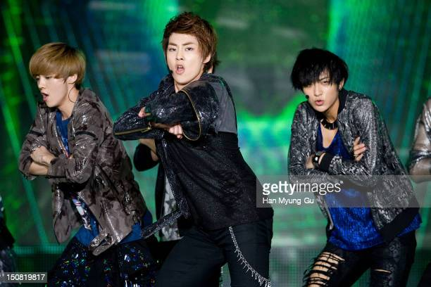 Luhan Xiumin and Tao of boy band EXOM perform onstage during the KBS KoreaChina Music Festival on August 25 2012 in Yeosu South Korea