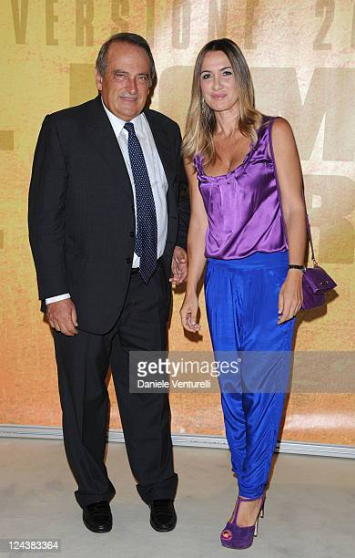 Luigi Abete and Desire Petrini attend the gala dinner honoring Marco Bellocchio's Lifetime Achievement Award 2011 during the The 68th Venice...