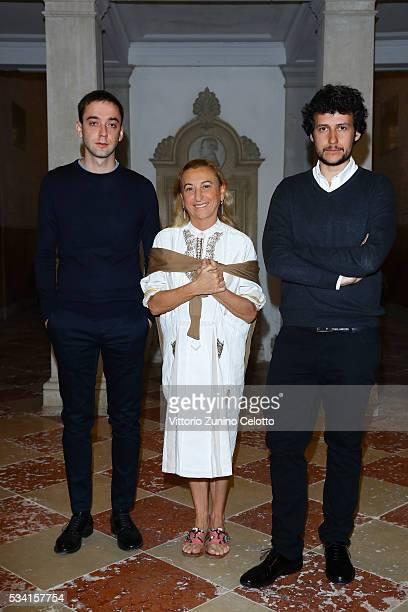 """Luigi Alberto Cippini, Miuccia Prada and Giovanni Fantoni Modena attend the private view and of """"Belligerent Eyes"""" at Fondazione Prada at Ca' Corner..."""