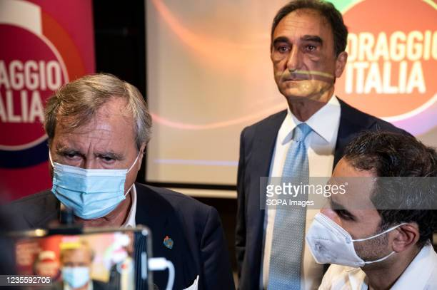 Luigi Brugnaro and Sergio Abramo seen during a press conference. At the regional electoral campaign, Mayor of Venice and President of the new...