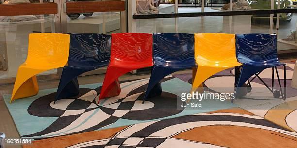 Luigi Colani Design 4mm Thicker Chair 1968 during 50 Years Luigi Colani 'Futurama' Exhibition at Nancyhalle in Karlsruhe Germany