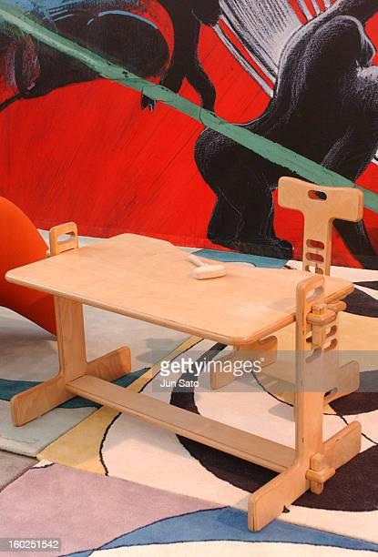 Luigi Colani Design Children Desk during 50 Years Luigi Colani 'Futurama' Exhibition at Nancyhalle in Karlsruhe Germany