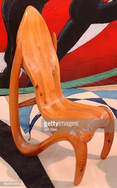 Luigi Colani Design Wood Curved Chair during 50 Years Luigi Colani 'Futurama' Exhibition at Nancyhalle in Karlsruhe Germany
