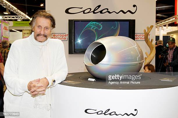 Luigi Colani presents his cattoilet at the Interzoo exhibition on May 17 2012 in Nuernberg Germany