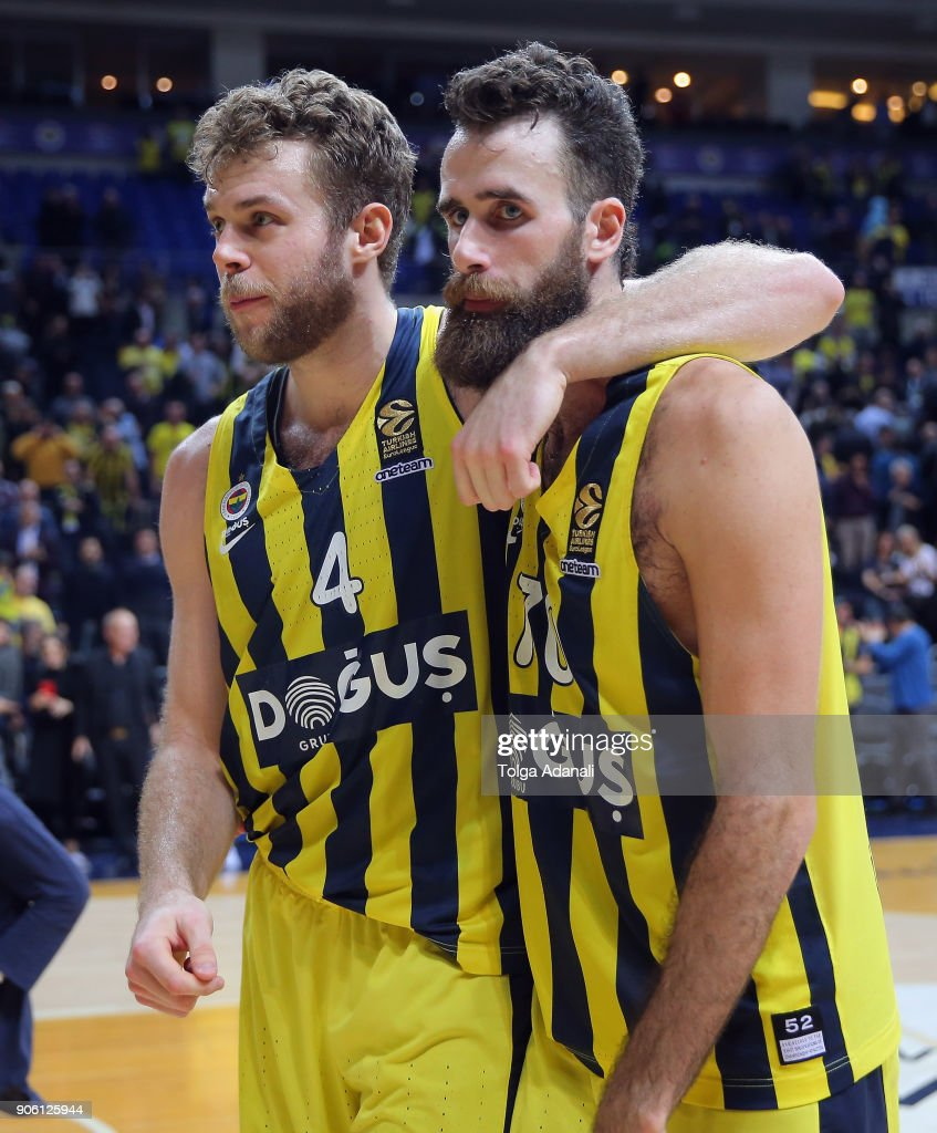 Luigi Datome, #70 and Nicolo Melli, #4 of Fenerbahce Dogus during the 2017/2018 Turkish Airlines EuroLeague Regular Season Round 18 game between Fenerbahce Dogus Istanbul and Panathinaikos Superfoods Athens at Ulker Sports and Event Hall on January 17, 2018 in Istanbul, Turkey.