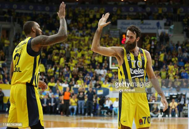 Luigi Datome #70 of Fenerbahce Beko Istanbul in action with Derrick Williams #21 of Fenerbahce Beko Istanbul during the 2019/2020 Turkish Airlines...