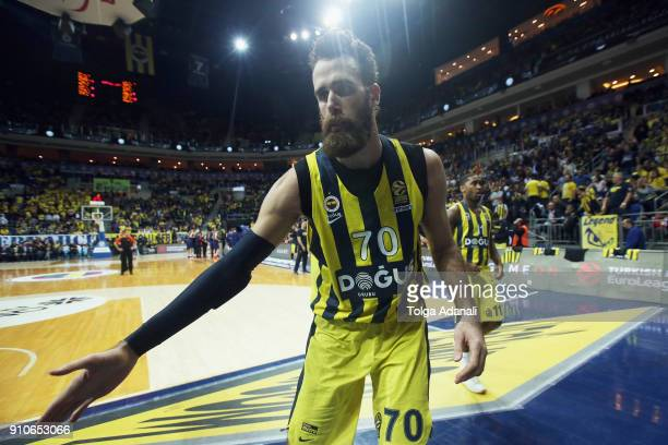 Luigi Datome #70 of Fenerbahce Dogus in action during the 2017/2018 Turkish Airlines EuroLeague Regular Season Round 20 game between Fenerbahce Dogus...