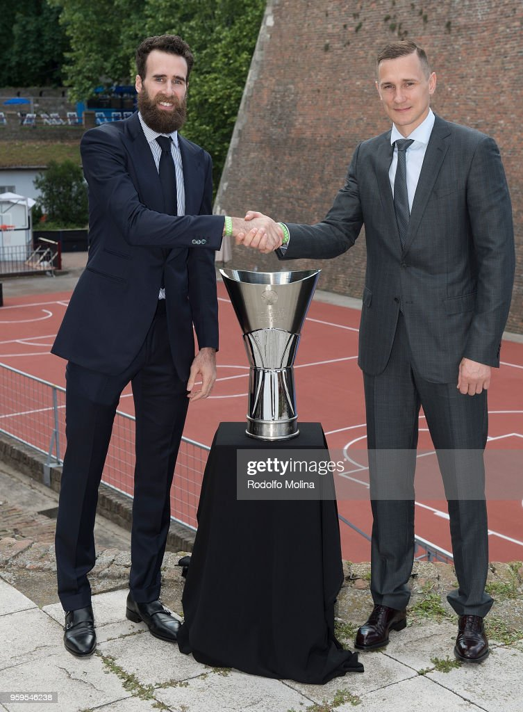 Luigi Datome, #70 of Fenerbahce Dogus Istanbul and Paulius Jankunas, #13 of Zalgiris Kaunas during the 2018 Turkish Airlines EuroLeague F4 Photo Opportunity at Kalemegdan Fortress and Park on May 17, 2018 in Belgrade, Serbia.