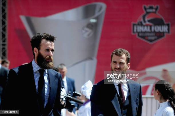 Luigi Datome #70 of Fenerbahce Dogus Istanbul and Sergio Rodriguez #13 of CSKA Moscow arriving at 2018 Turkish Airlines EuroLeague F4 Final Four...