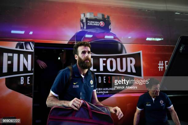 Luigi Datome #70 of Fenerbahce Dogus Istanbul during the Fenerbahce Dogus Istanbul Arrival to participate of 2018 Turkish Airlines EuroLeague F4 at...