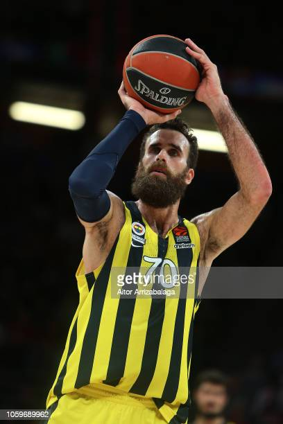 Luigi Datome #70 of Fenerbahce Istanbul in action during the 2018/2019 Turkish Airlines EuroLeague Regular Season Round 6 game between Kirolbet...