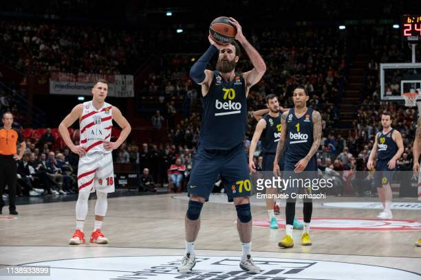 Luigi Datome #70 of Fenerbahce Beko Istanbul shoots a free throw during the Turkish Airlines EuroLeague Round 29 match between AX Armani...