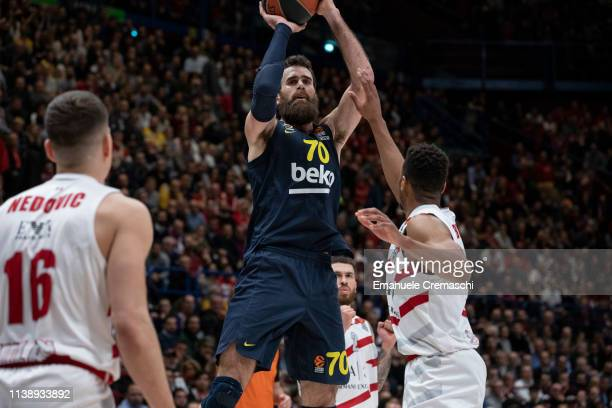 Luigi Datome #70 of Fenerbahce Beko Istanbul shoots the ball during the Turkish Airlines EuroLeague Round 29 match between AX Armani...