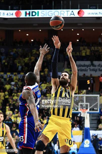 Luigi Datome of Fenerbahce Beko in action against James Anderson of Anadolu Efes during Turkish Airlines Euroleague basketball match between...