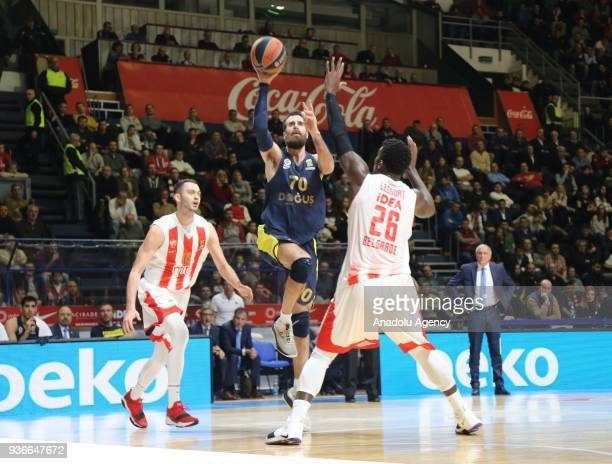 Luigi Datome of Fenerbahce Dogus in action against Mathias Lessort of Crvena Zvezda during the Turkish Airlines Euroleague week 28 basketball match...