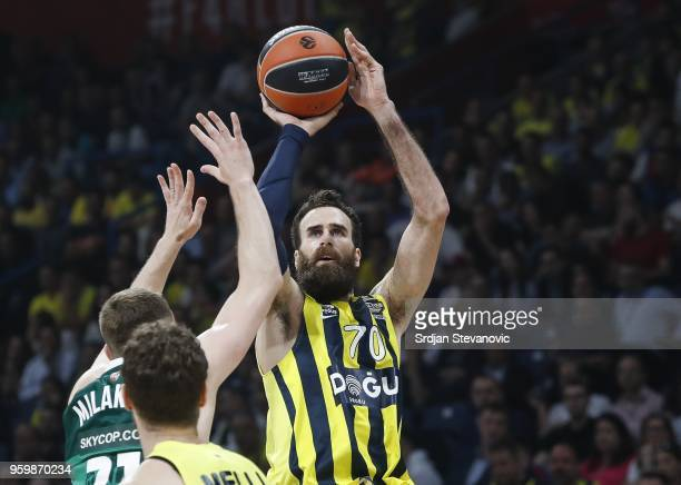 Luigi Datome of Fenerbahce in action against Arturas Milaknis of Zalgiris during the Turkish Airlines Euroleague Final Four Belgrade 2018 Semifinal...
