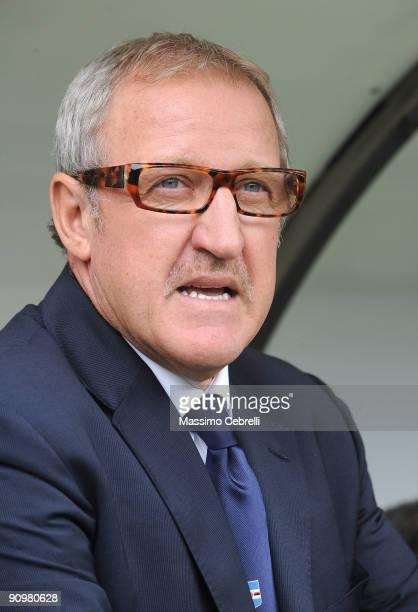 Luigi Del Neri head coach of UC Sampdoria reacts during the Serie A match between UC Sampdoria and AC Siena at the Luigi Ferraris Stadium on...