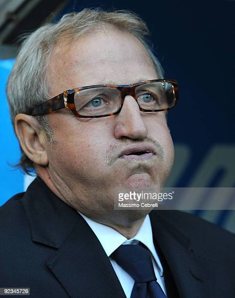 Luigi Del Neri head coach of UC Sampdoria reacts during the Serie A match between UC Sampdoria and Bologna FC at Stadio Luigi Ferraris on October 24...
