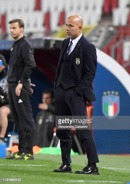 Luigi Di Biagio head coach of Italy U21 reacts during the International Friendly match between Italy U21 and Austria U21 at Stadio Nereo Rocco on...