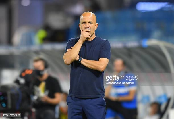 Luigi Di Biagio head coach of SPAL looks on during the Serie A match between SPAL and FC Internazionale at Stadio Paolo Mazza on July 16, 2020 in...