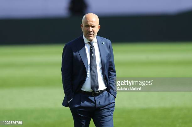 Luigi Di Biagio manager of Spal looks on during the Serie A match between Parma Calcio and SPAL at Stadio Ennio Tardini on March 8, 2020 in Parma,...