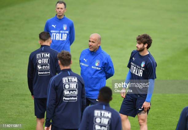 Luigi Di Biagio of Italy looks on during a training session at Centro Tecnico Federale di Coverciano on April 29, 2019 in Florence, Italy.