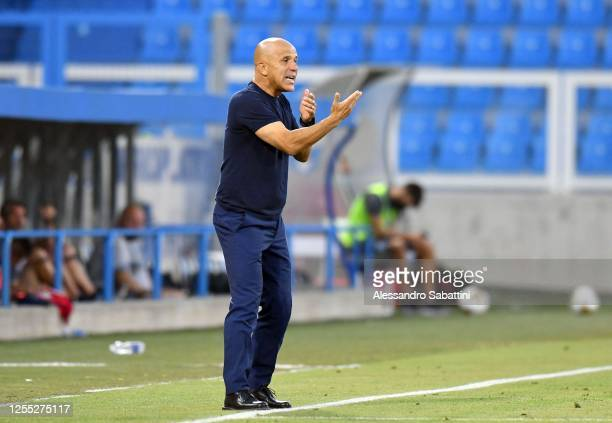 Luigi Di Biagio of SPAL issues instructions to his players during the Serie A match between SPAL and Udinese Calcio at Stadio Paolo Mazza on July 09,...
