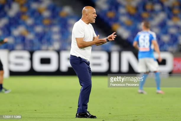 Luigi Di Biagio SPAL coach during the Serie A match between SSC Napoli and SPAL at Stadio San Paolo on June 28, 2020 in Naples, Italy.