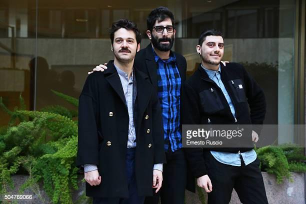 Luigi Di Capua Luca Vecchi and Matteo Corradini attend a photocall for 'THE PILLS Sempre Meglio Che Lavorare' on January 13 2016 in Rome Italy