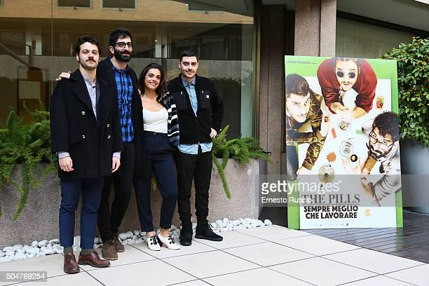 Luigi Di Capua Luca Vecchi Margherita Vicario and Matteo Corradini attend a photocall for 'THE PILLS Sempre Meglio Che Lavorare' on January 13 2016...