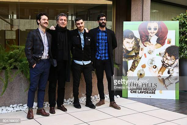 Luigi Di Capua Pietro Valsecchi Luca Vecchi and Matteo Corradini attend a photocall for 'THE PILLS Sempre Meglio Che Lavorare' on January 13 2016 in...