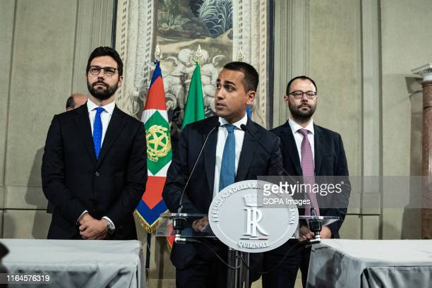 Luigi Di Maio 5Star Movement leader speaks to the Media after a meeting with the Italian President Sergio Mattarella for the consultations with...