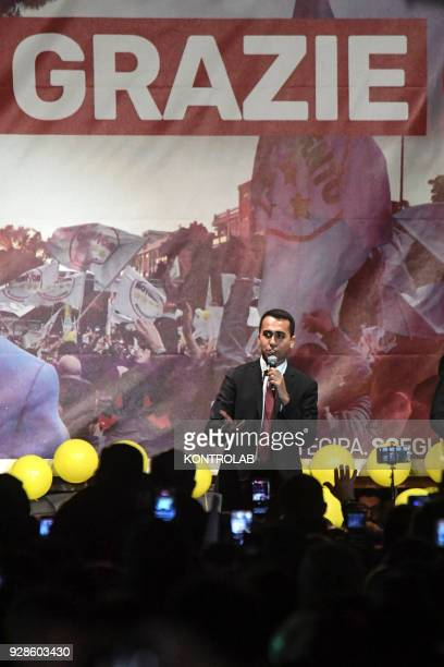Luigi Di Maio, after his election, meets the militants of the italys populist five star movement of the province of Naples that following the...