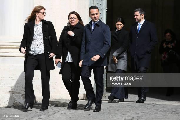 Luigi Di Maio and Virginia Raggi arrive at the International Women's Day Celebrations at Palazzo del Quirinale on March 8 2018 in Rome Italy