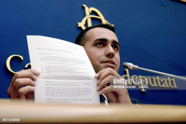 Luigi Di Maio during the Press conference of the 5 Stars Movement on initiatives with regard to the privileged pension of parliamentarians in which...